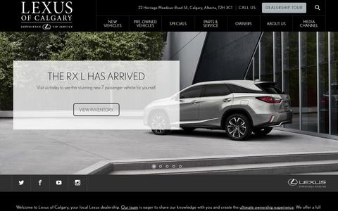 Screenshot of Home Page lexusofcalgary.com - Lexus of Calgary: New & Used Lexus Dealership | Calgary, AB - captured July 18, 2018