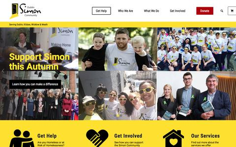Screenshot of Home Page dubsimon.ie - Homeless? In Need of Help? - Dublin Simon Community - captured Sept. 22, 2018