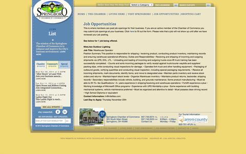 Screenshot of Jobs Page springboroohio.org - Springboro Chamber of Commerce - captured Oct. 7, 2014