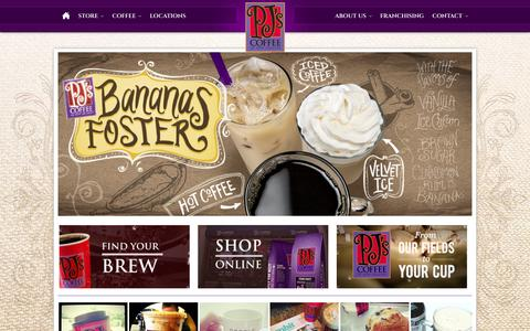 Screenshot of Home Page pjscoffee.com - PJ's Coffee of New Orleans - captured Oct. 1, 2014