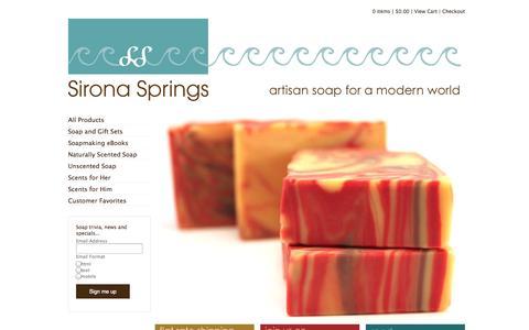 Screenshot of Home Page sironasprings.com - Handmade Artisan Soap from Sirona Springs —Home - captured Sept. 30, 2014
