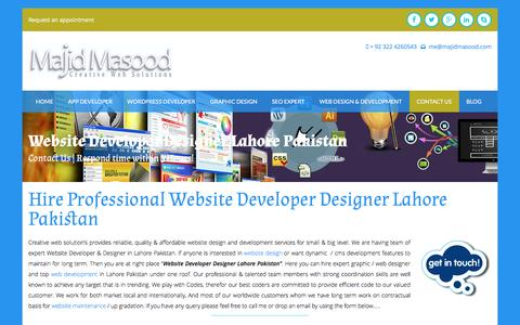 Screenshot of Contact Page majidmasood.com - Website Developer Designer lahore Pakistan | SEO Expert Pakistan - captured Aug. 25, 2016