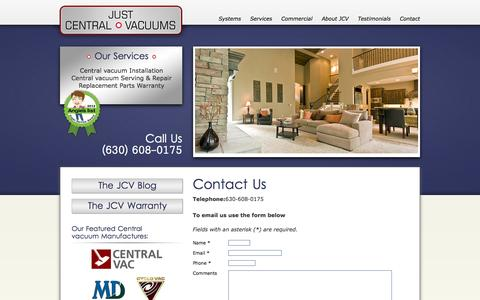 Screenshot of Contact Page justcentralvacs.com - Just Central Vaccums - Contact by email phone or in person. - captured Oct. 6, 2014