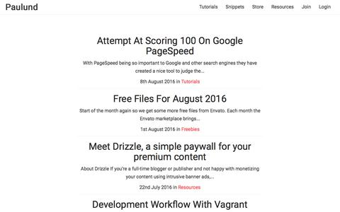 Screenshot of Home Page paulund.co.uk - Paulund | Tutorials & Snippets - captured Aug. 20, 2016