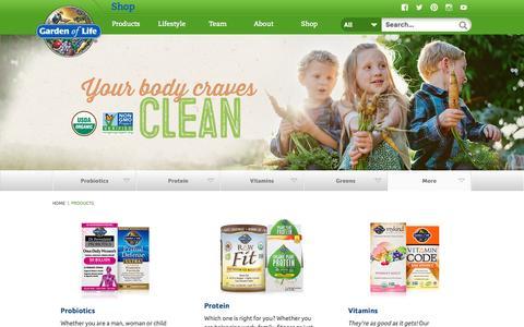 Screenshot of Products Page gardenoflife.com - Probiotics, Protein, Vitamins & Greens | Garden of Life® - captured July 11, 2016