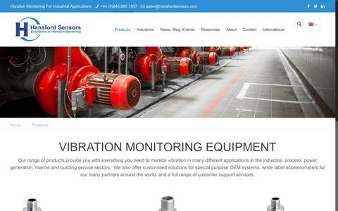 Screenshot of Products Page hansfordsensors.com - Vibration monitoring equipment - captured Oct. 24, 2016