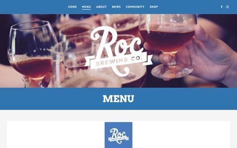 Screenshot of Menu Page rocbrewingco.com - Menu – Roc Brewing Co. - captured Oct. 22, 2017