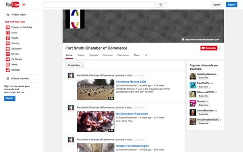 Screenshot of YouTube Page youtube.com - Fort Smith Chamber of Commerce  - YouTube - captured Oct. 23, 2014