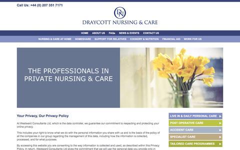 Screenshot of Privacy Page draycottnursing.co.uk - Home Care Services - Carers, Nursing Agency London | Draycott Nursing - captured Feb. 9, 2016