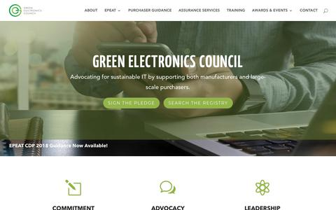 Screenshot of Home Page greenelectronicscouncil.org - Green Electronics Council | Sustainability for today and tomorrow - captured July 18, 2018