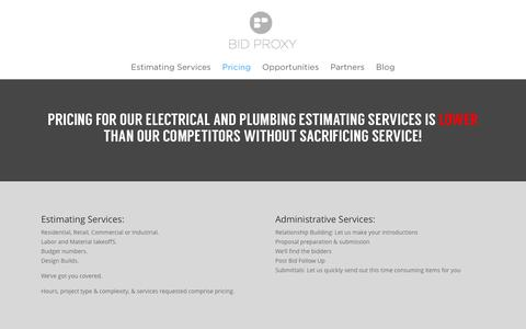 Screenshot of Pricing Page bid-proxy.com - Pricing: Plumbing Estimating Services | Bid Proxy Estimating Services - captured Jan. 2, 2016