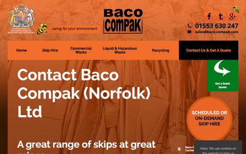 Screenshot of Contact Page bacocompakltd.co.uk - Contact Baco Compak for skip hire & waste management throughout Norfolk - captured Feb. 8, 2016