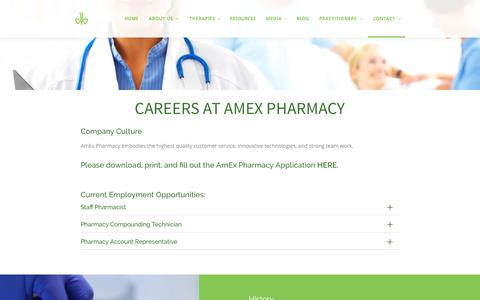 Screenshot of Jobs Page amexpharmacy.com - Careers – AMEX PHARMACY - captured July 25, 2016