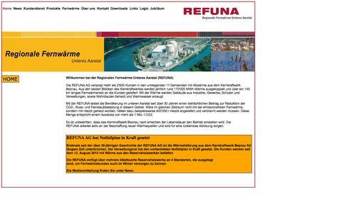 Screenshot of Home Page refuna.ch - Refuna | Home - captured Oct. 12, 2015