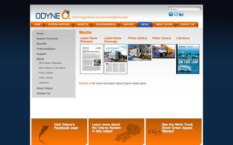 Screenshot of Press Page odyne.com - Media - captured Oct. 9, 2014