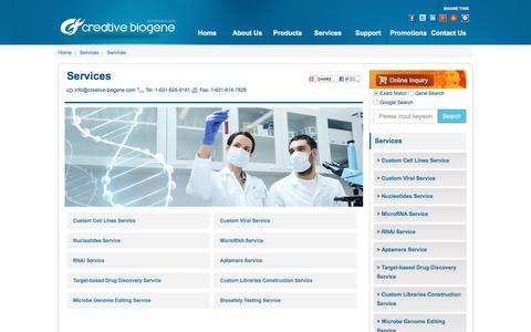 Screenshot of Services Page creative-biogene.com - Services - Creative Biogene - captured July 23, 2018