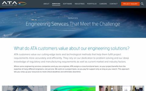 Screenshot of Services Page ata-e.com - Advanced Engineering Services & Solutions | Design, Analysis & Test - captured Feb. 11, 2018