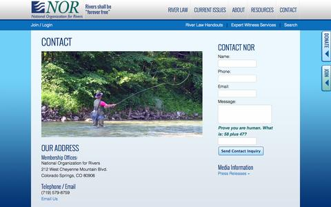 Screenshot of Contact Page nationalrivers.org - Contact - National Organization for Rivers - captured Oct. 26, 2014