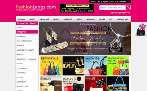 Screenshot of Home Page fashionlanes.com - Wholesale Handbags, Wholesale Purses, Designer Handbags - captured Sept. 19, 2014