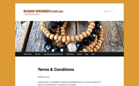 Screenshot of Terms Page susanwanmer.com.au - Terms & Conditions   SUSAN WANMER.com.au - captured Nov. 4, 2014