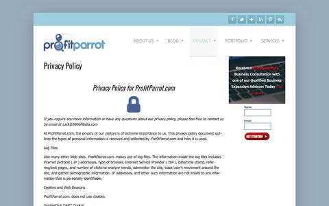 Screenshot of Privacy Page profitparrot.com - Privacy Policy - captured July 18, 2016