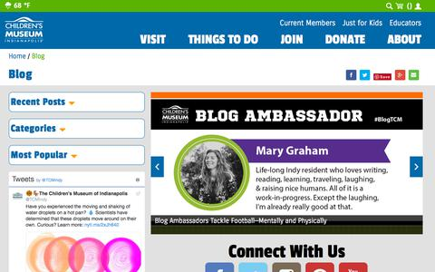 Screenshot of Blog childrensmuseum.org - Blog | The Children's Museum of Indianapolis - captured Sept. 24, 2018