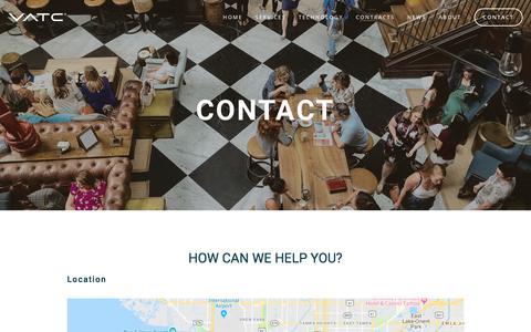 Screenshot of Contact Page vatcinc.com - Contact | VATC - captured July 21, 2019