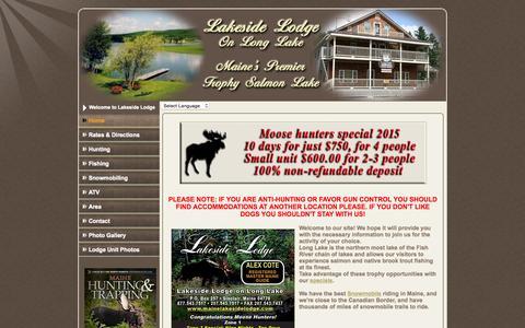 Screenshot of Home Page mainelakesidelodge.com - Maine Lakeside Lodge, Sinclair, Maine - captured June 19, 2015