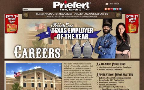Screenshot of Jobs Page priefert.com - Priefert - Work for Priefert - captured Oct. 3, 2014