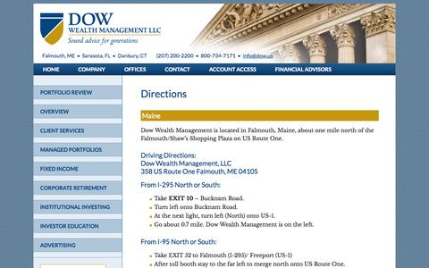 Screenshot of Maps & Directions Page dow.us - Directions - captured Oct. 5, 2014