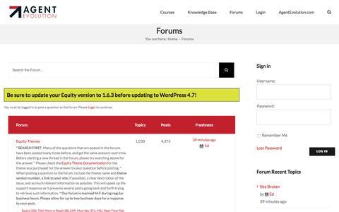 Screenshot of Support Page agentevolution.com - Forums Archive • Agent Evolution Learning Center - captured Jan. 6, 2017