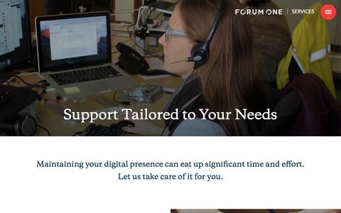 Screenshot of Support Page forumone.com - Support | Forum One - captured April 14, 2017