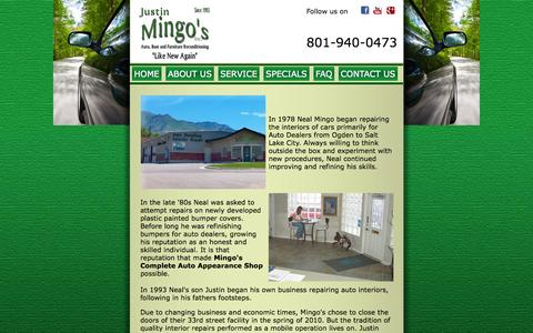 Screenshot of About Page mingosauto.com - Justin Mingo has been working on improving his business of repairing auto interiors and following in his fathers footsteps - captured Oct. 6, 2014