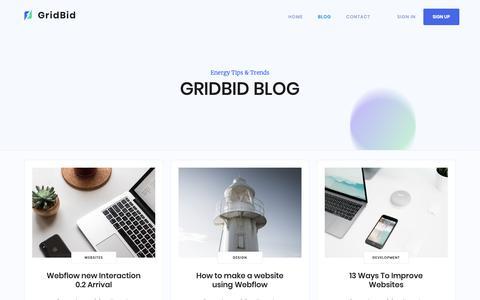Screenshot of Blog gridbid.com - Dulce - Webflow HTML website template - captured Dec. 8, 2018