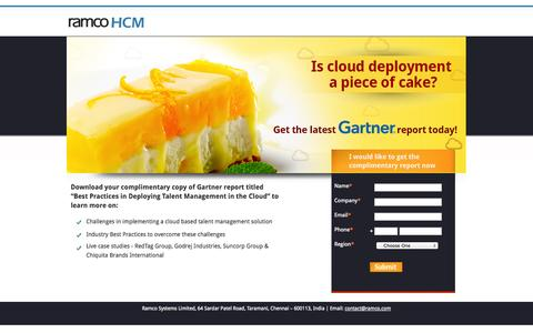 Screenshot of Landing Page ramco.com - Best Practices in deploying talent management in the cloud – Gartner – Ramco HCM - captured Oct. 27, 2014