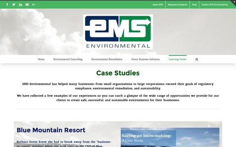 Screenshot of Case Studies Page emsenv.com - Case Studies | EMS Environmental, Inc. - captured Oct. 13, 2016