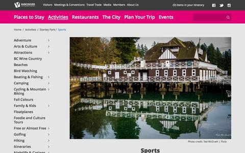 Screenshot of tourismvancouver.com - Stanley Park Recreation: Athletic Fields and Clubs - captured April 29, 2017