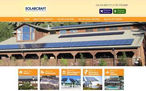 Screenshot of Home Page solarcraft.com - Solar Energy Napa, Sonoma, Marin, Mendocino & throughout California   solar power   solar electric   solar thermal   solar pool   solar panels   solar heating - captured Oct. 7, 2014