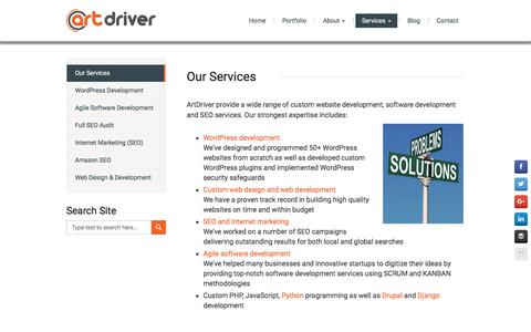 Screenshot of Services Page artdriver.com - WordPress Development & SEO Services - ArtDriver - captured May 30, 2017
