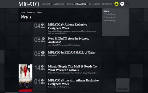 Screenshot of Press Page migato.gr - News | MIGATO - captured Sept. 19, 2014