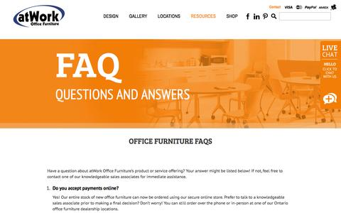 Screenshot of FAQ Page atwork.ca - Office Furniture FAQs - atWork Office Furniture - captured Feb. 7, 2016