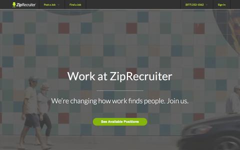 Screenshot of Jobs Page ziprecruiter.com - Careers at ZipRecruiter | ZipRecruiter - captured Oct. 21, 2015