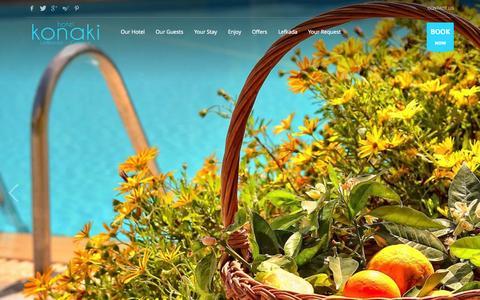 Screenshot of Home Page hotelkonaki.com - Hotel Konaki - Lefkada Island, Greece - captured Nov. 3, 2015