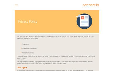Screenshot of Privacy Page connectib.com - Privacy Policy - captured Dec. 11, 2015