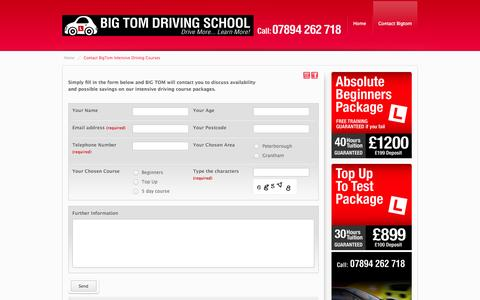 Screenshot of Contact Page bigtom.org.uk - Driving Courses in Peterborough and Grantham - captured Oct. 4, 2014
