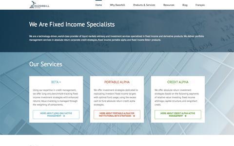 Screenshot of Home Page razorbilladvisors.com - Razorbill Advisors inc. - Montreal-based liquid markets adviser - captured Aug. 14, 2015