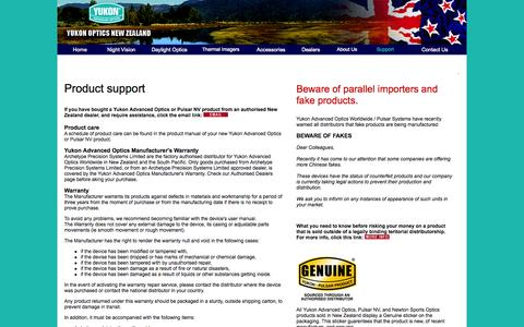 Screenshot of Support Page yukonoptics.co.nz - Support for Yukon and Pulsar optics and night vision systems - captured Oct. 7, 2014