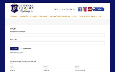 Screenshot of Login Page glendoratrophy.com - My Account - Glendora Trophy - captured July 8, 2018