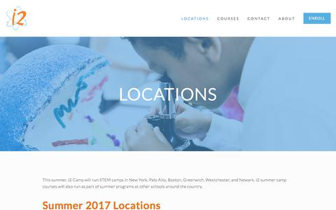 Screenshot of Locations Page i2camp.org - Locations in NYC, Boston, Palo Alto, Greenwich, Westchester, and Newark - i2 Camp - captured June 8, 2017