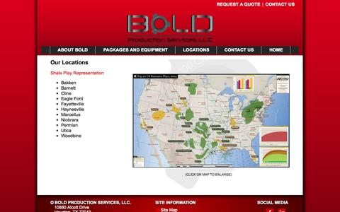 Screenshot of Locations Page bps-llc.com - Bold Production Services: Our Locations - captured Oct. 5, 2014
